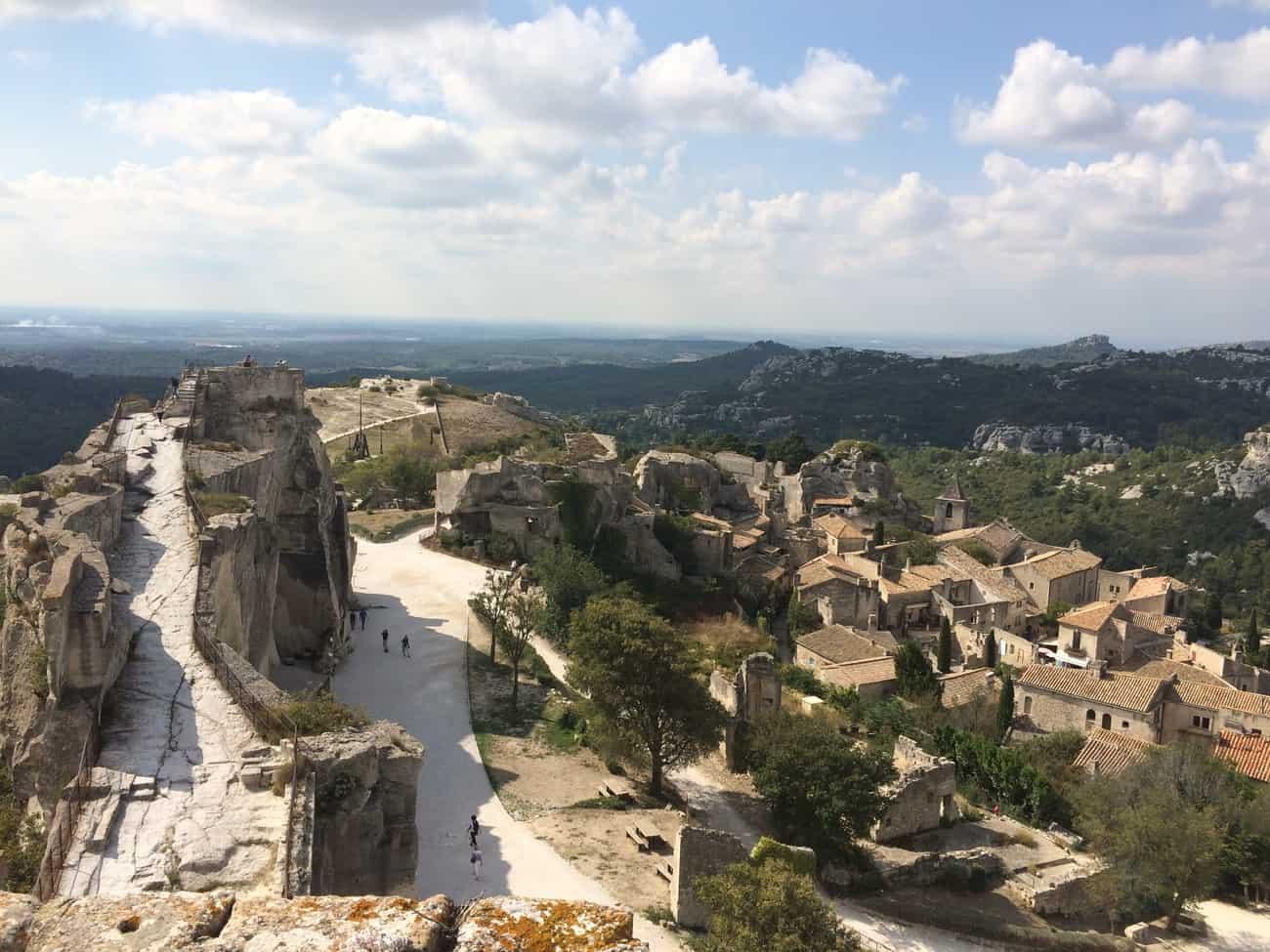 Les Baux - castle with town below