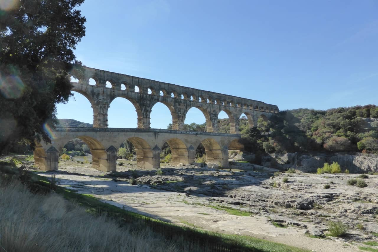 Pont du Gard - view from right bank of river