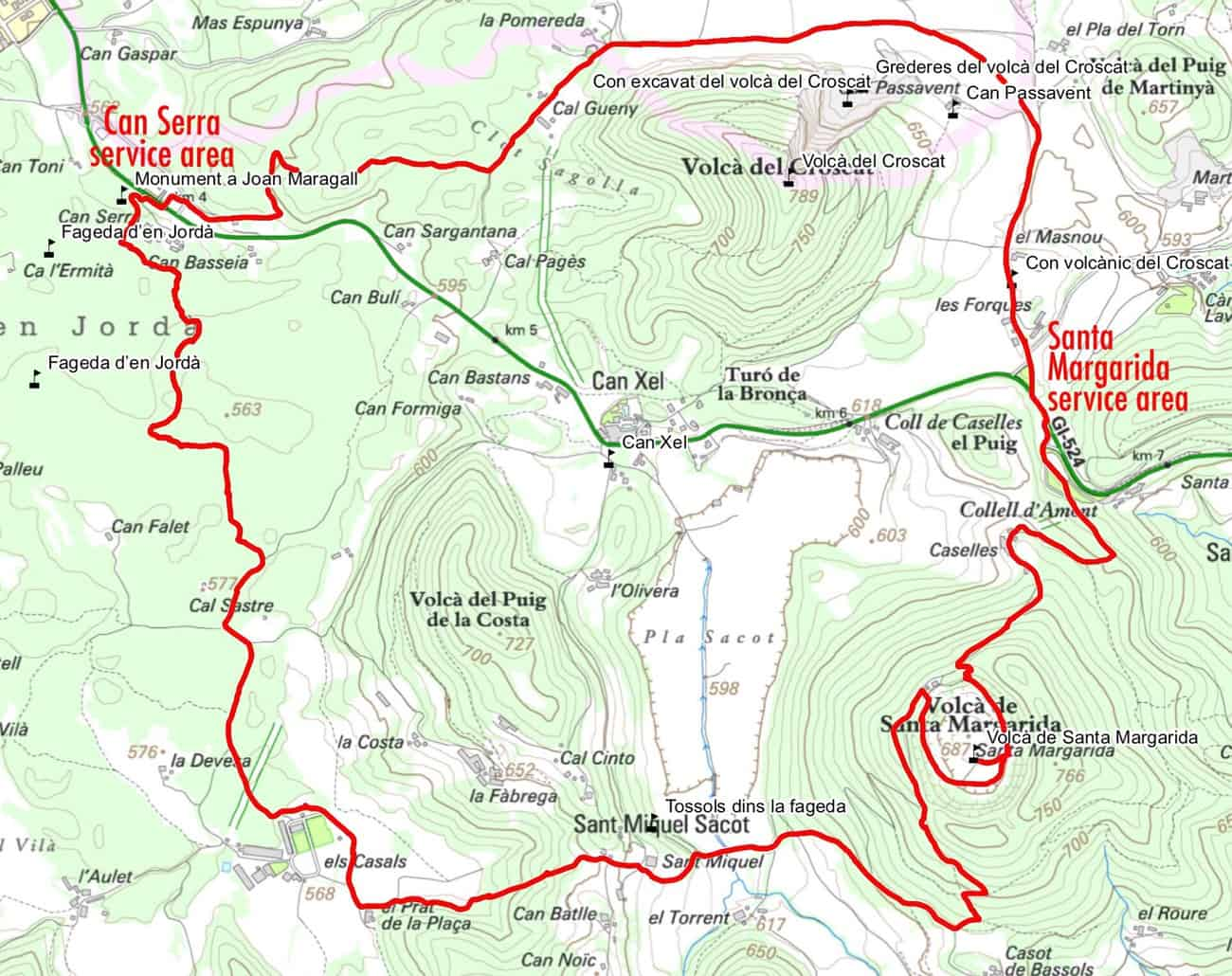 Garrotxa Volcanic Zone Natural Park - map of Itinerary 1