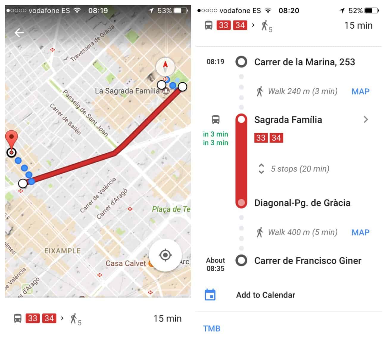 Barcelona - Google maps directions