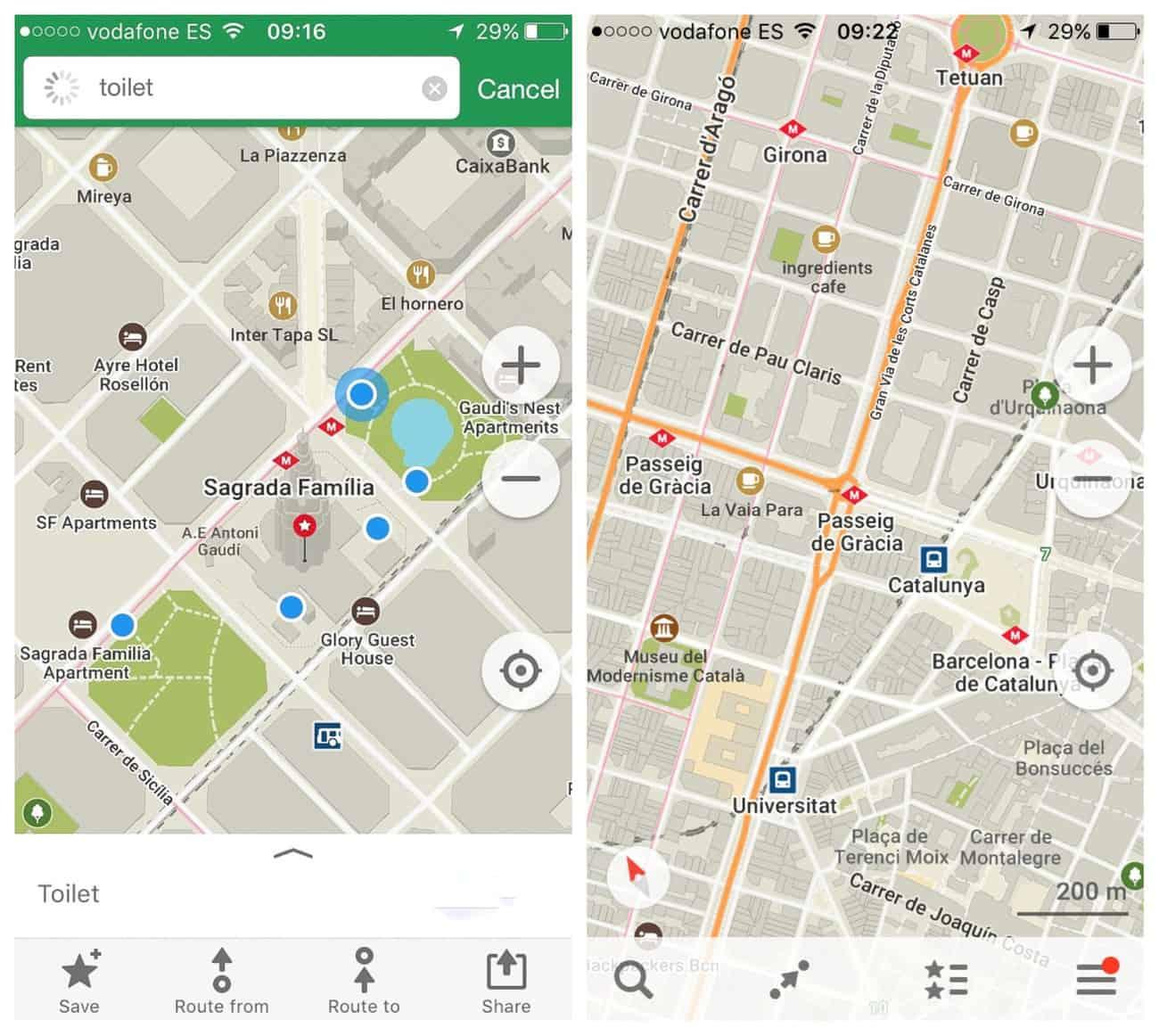 Barcelona - using Maps.me to navigate