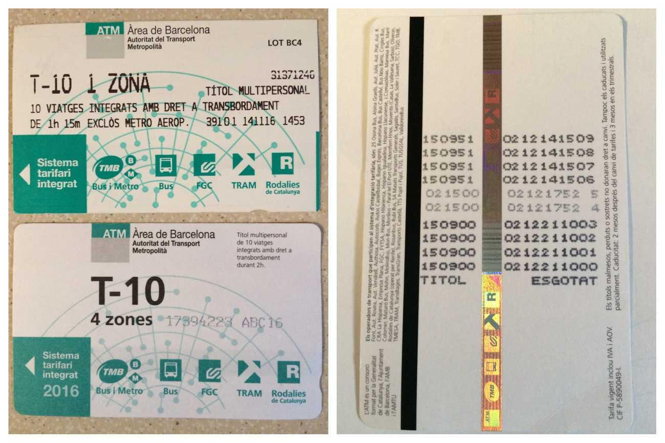 Barcelona - transport T10 ticket