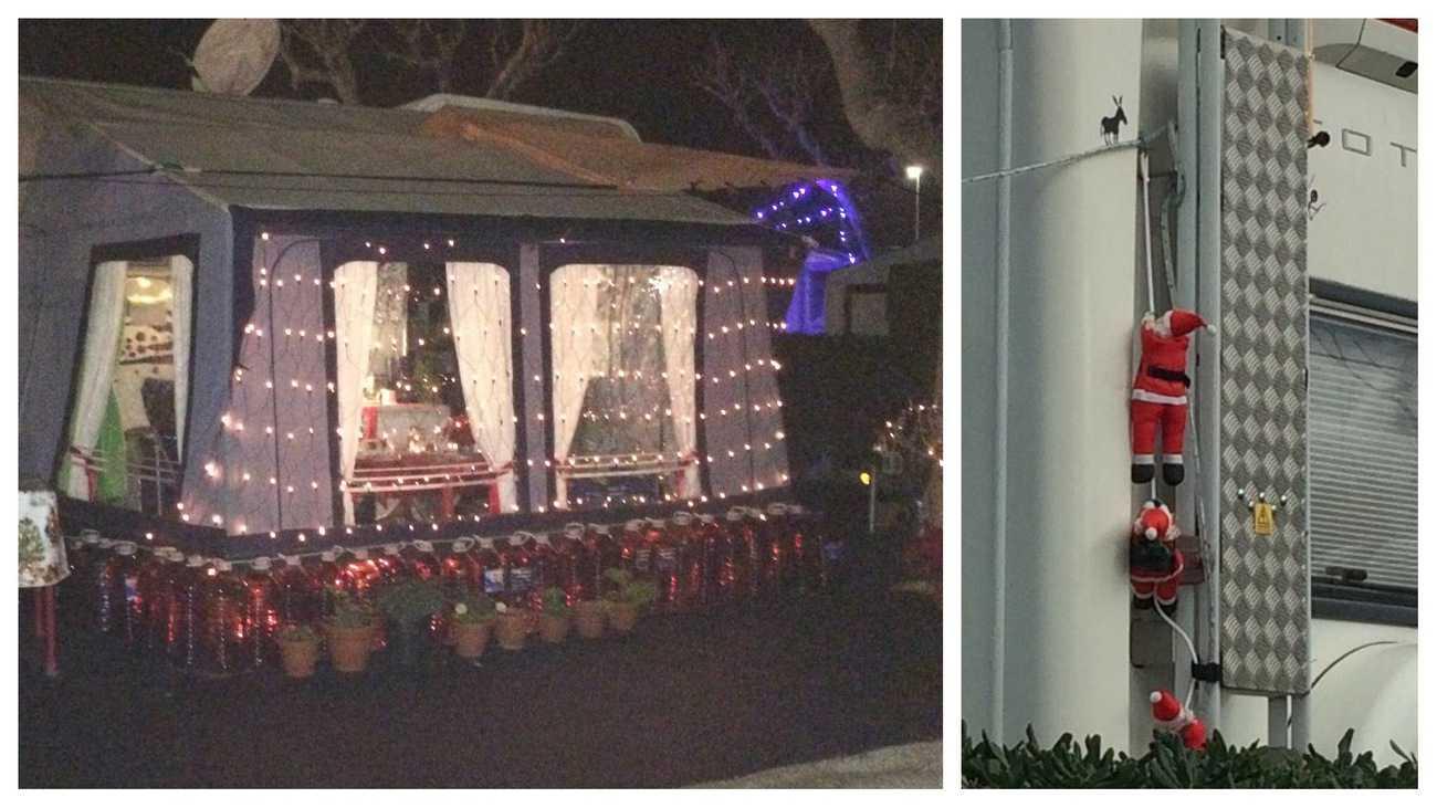 Spain - Christmas decorations on caravans