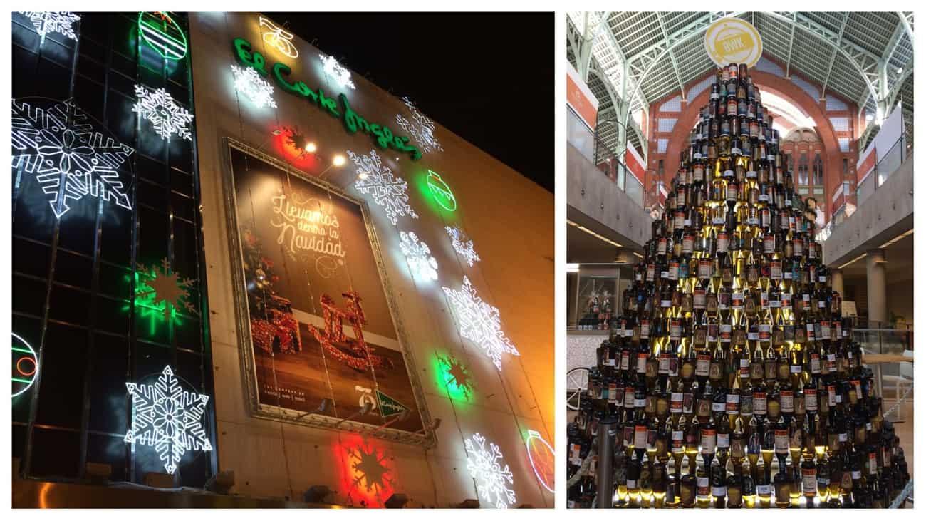 Valencia - Christmas lights on El Cortes Ingles