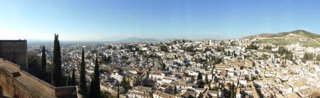 Alhambra Granada Spain - view of Granada from Alcazara
