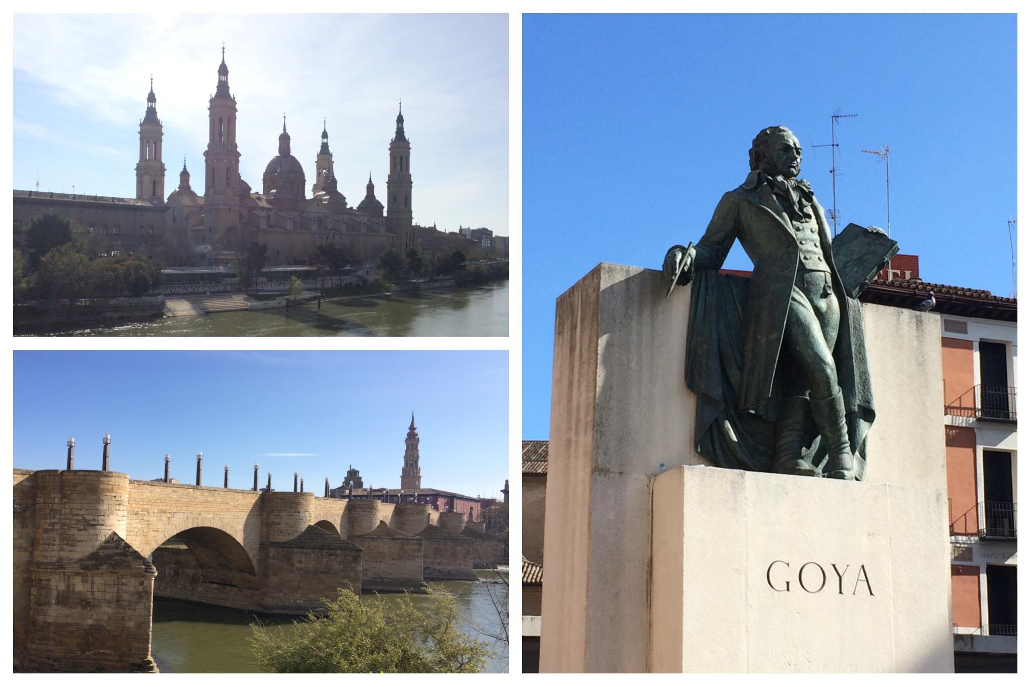 Zaragoza cathedral Roman bridge Goya statue