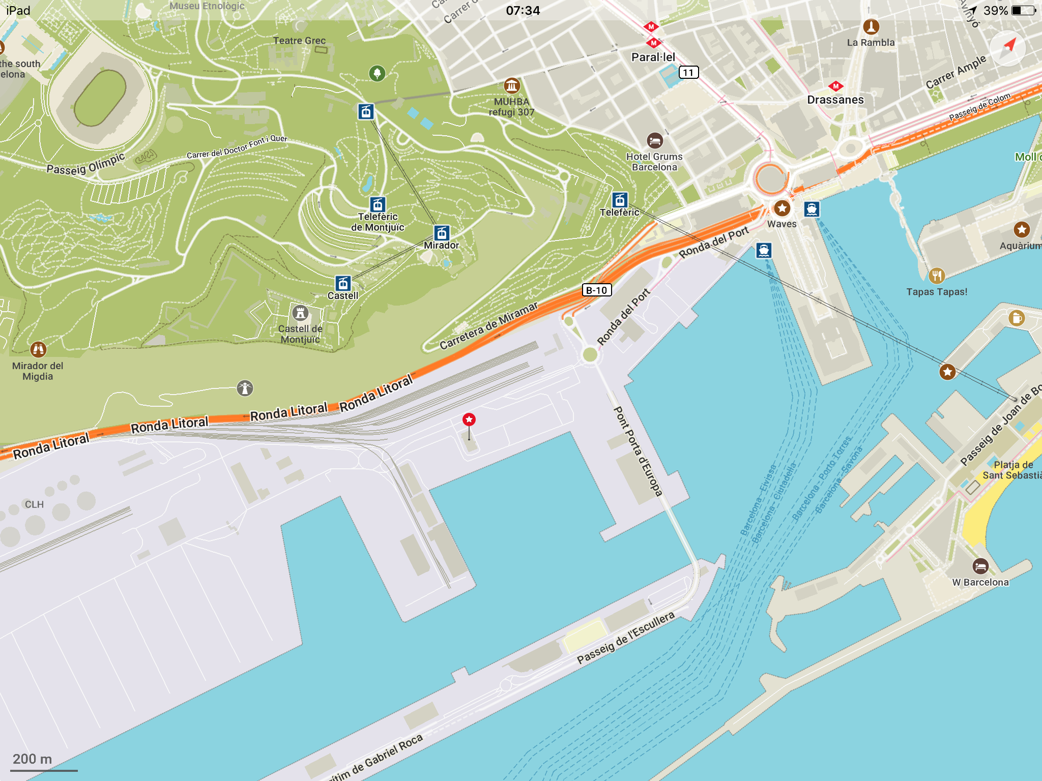 GNV Ferry Barcelona to Genoa Map of Port