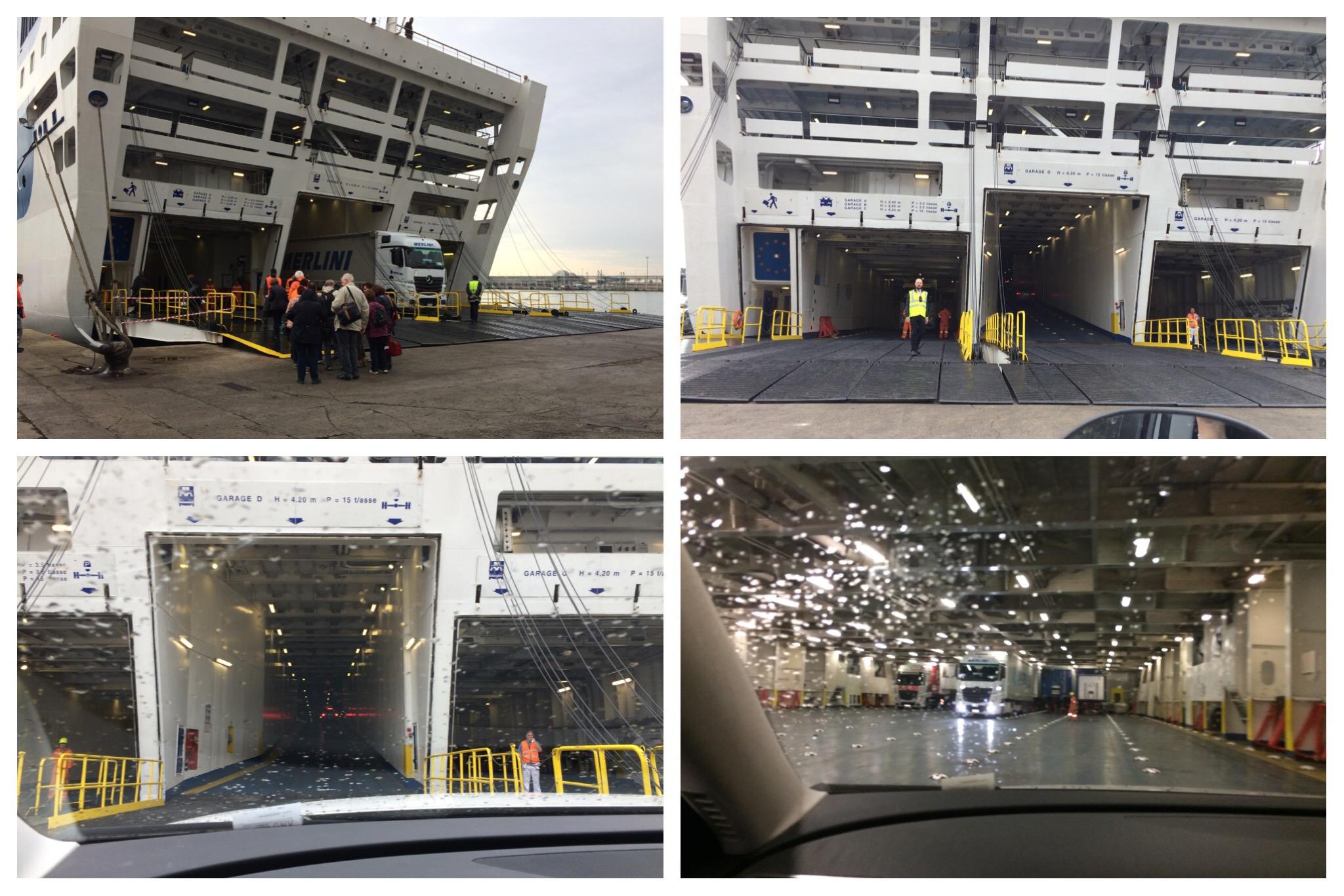 GNV ferry Barcelona to Genoa boarding