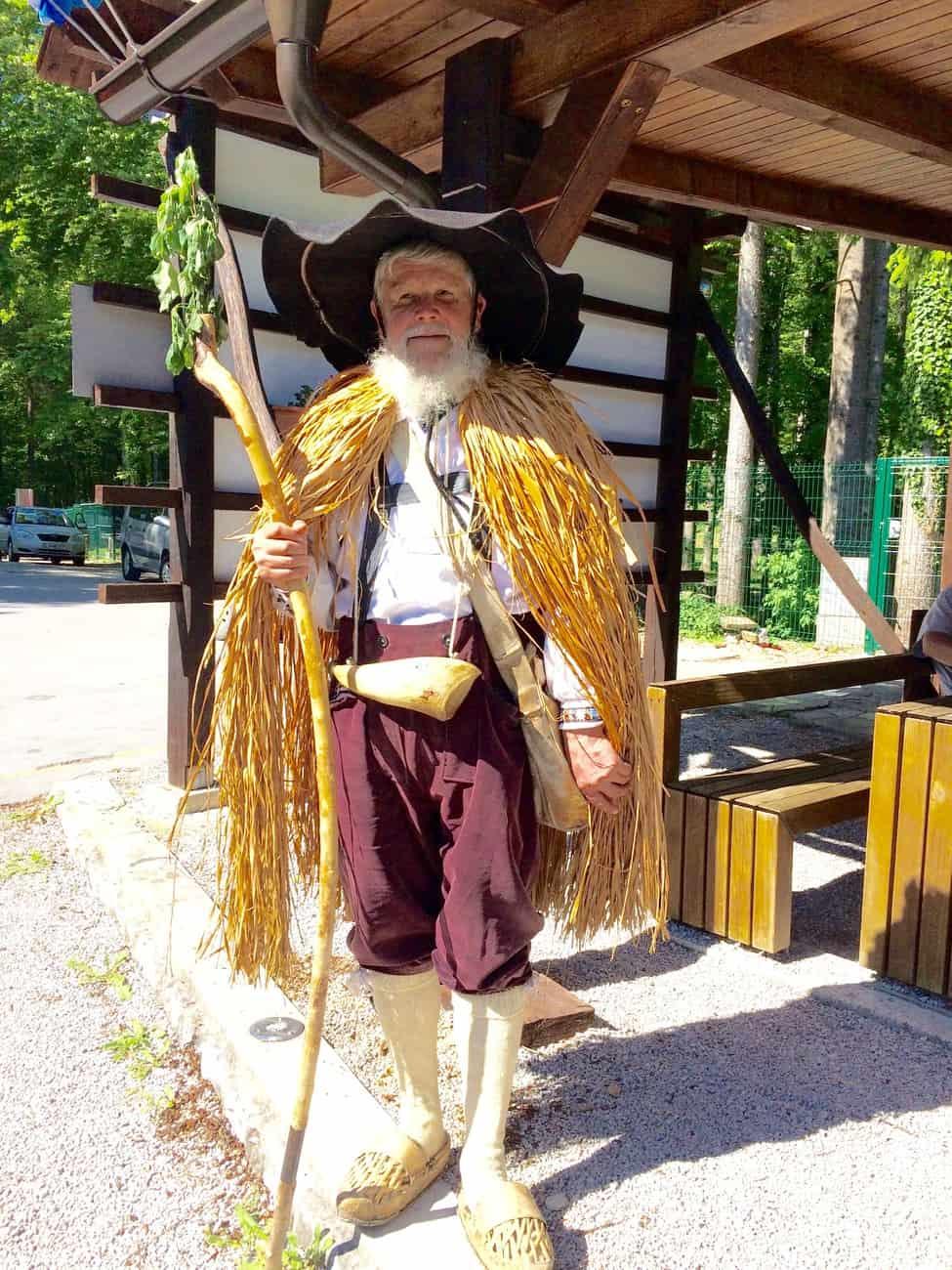 Slovenia Velika Planina Shepherd in Traditional clothes