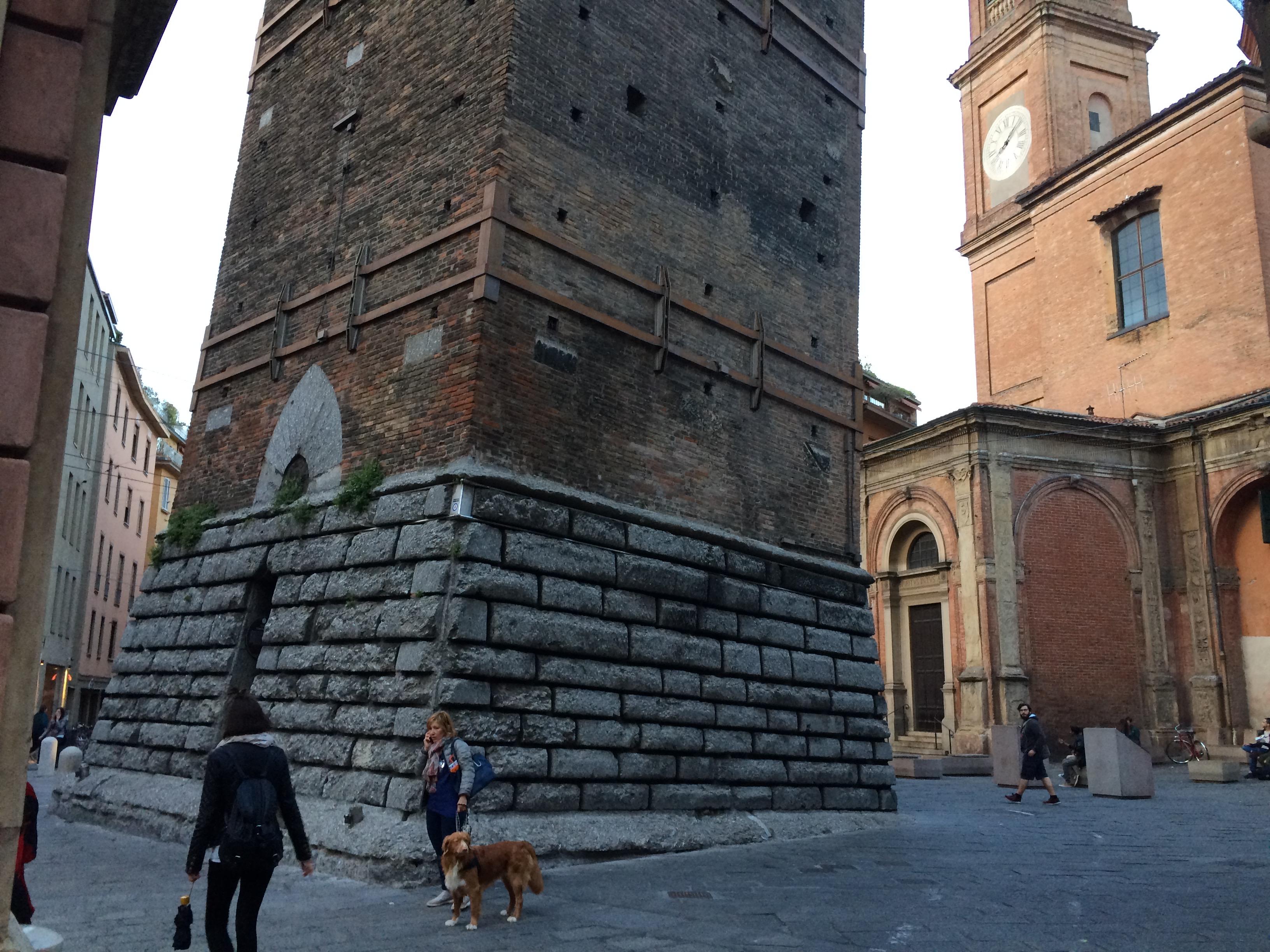 Bologna -  base of Garisenda tower