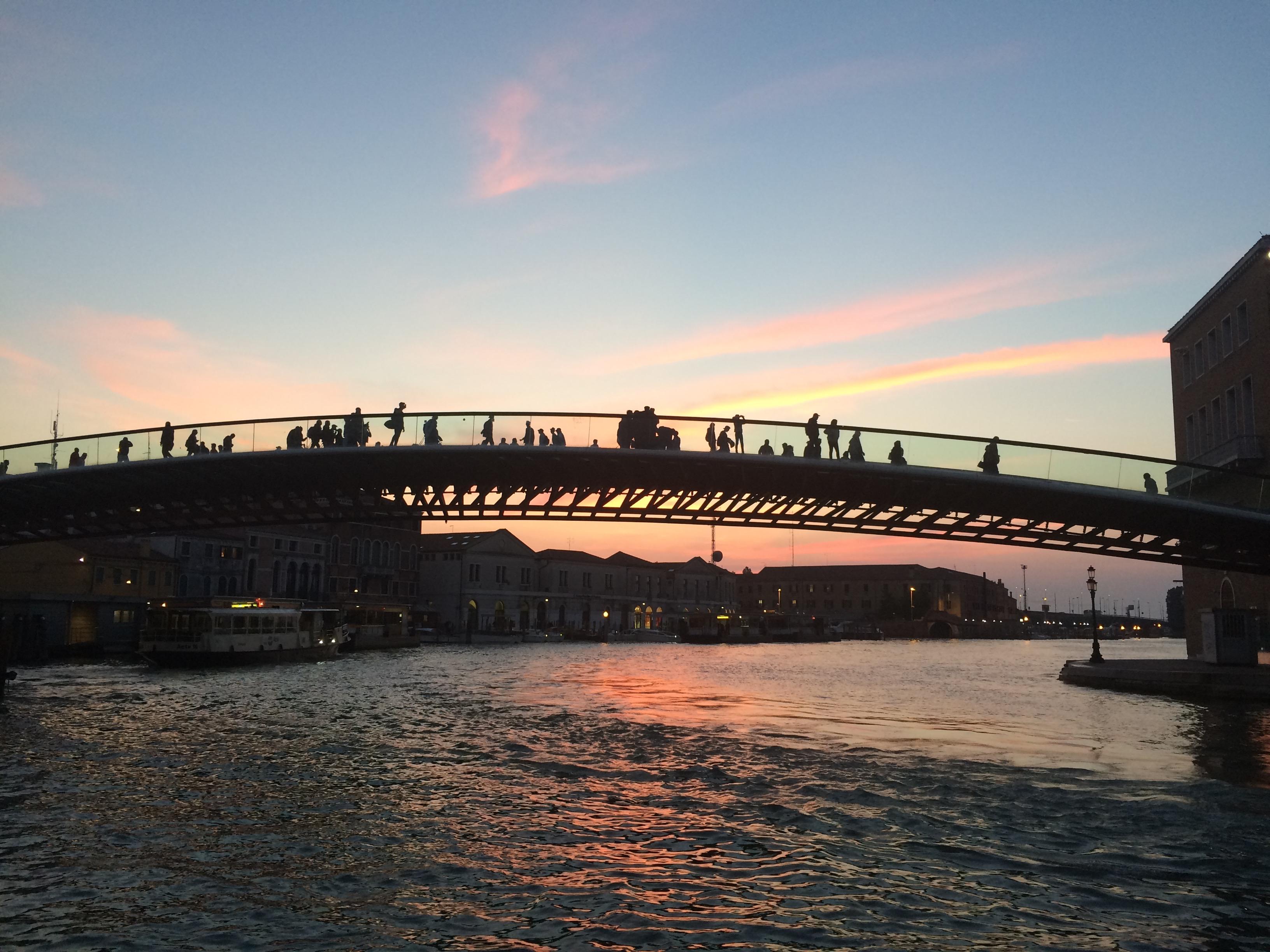 Venice Grand Canal Piazzale Roma sunset figures on bridge