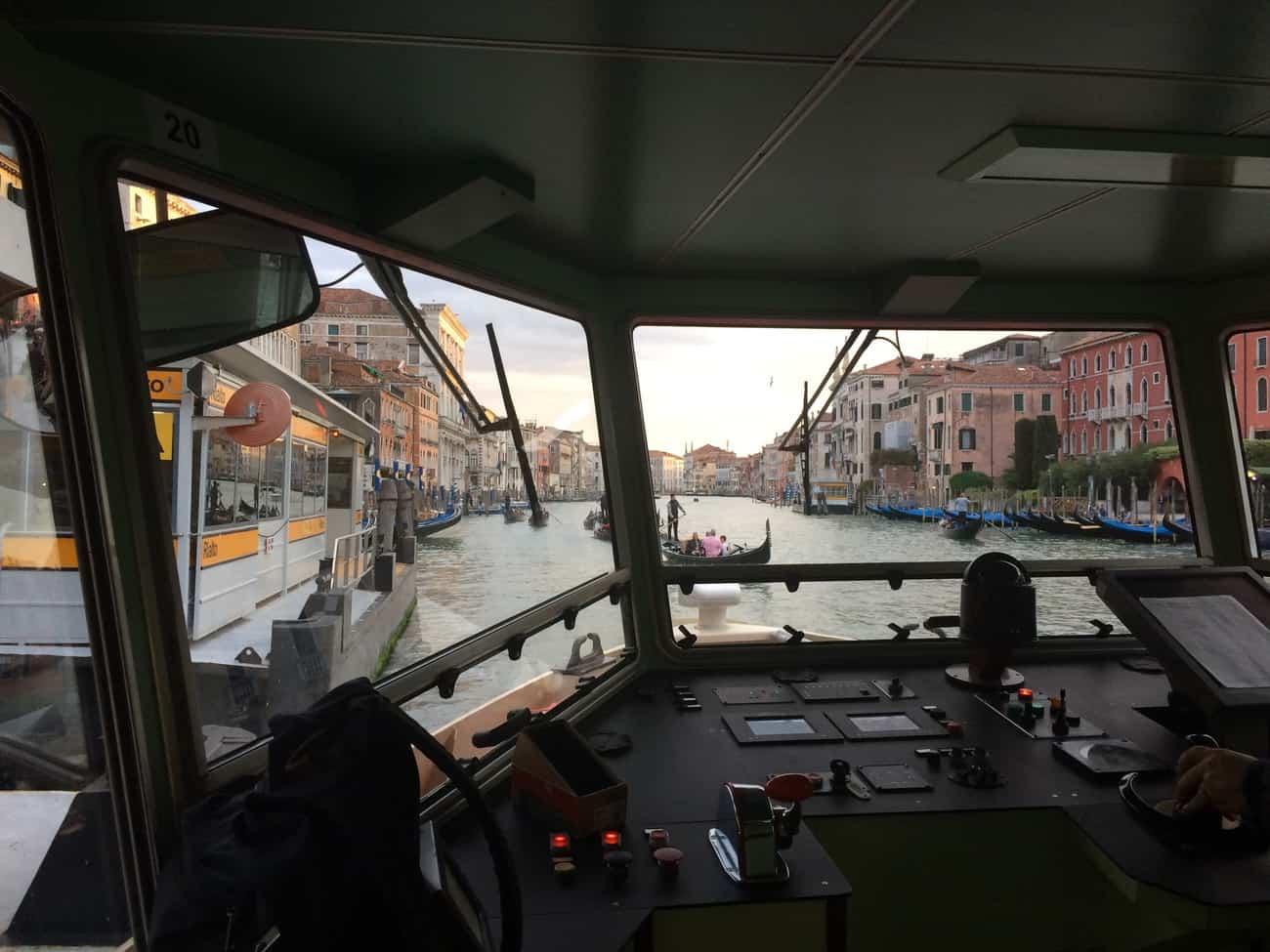 Venice vaporetto driver's view