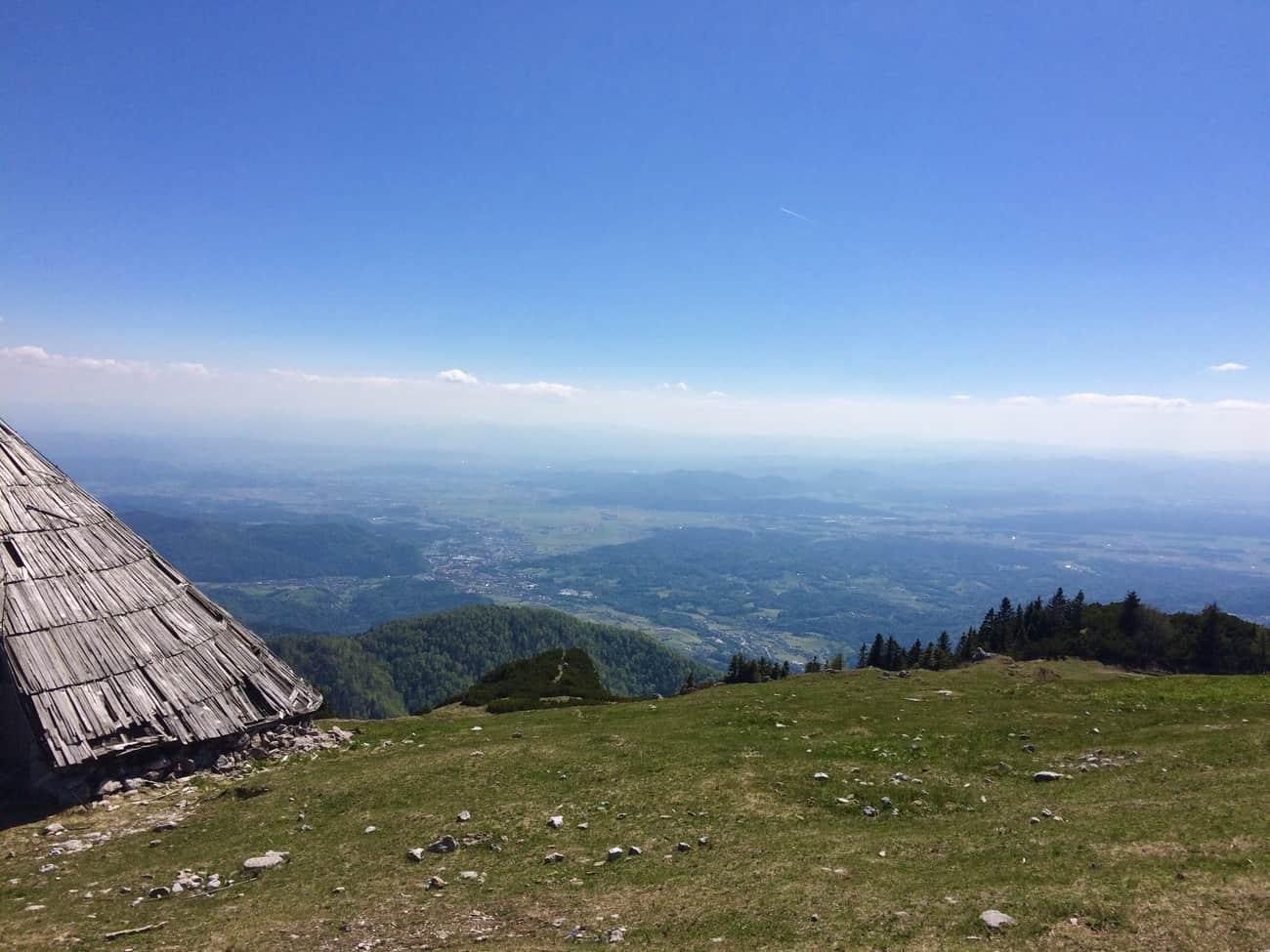 Slovenia Velika Planina view towards Ljubljana