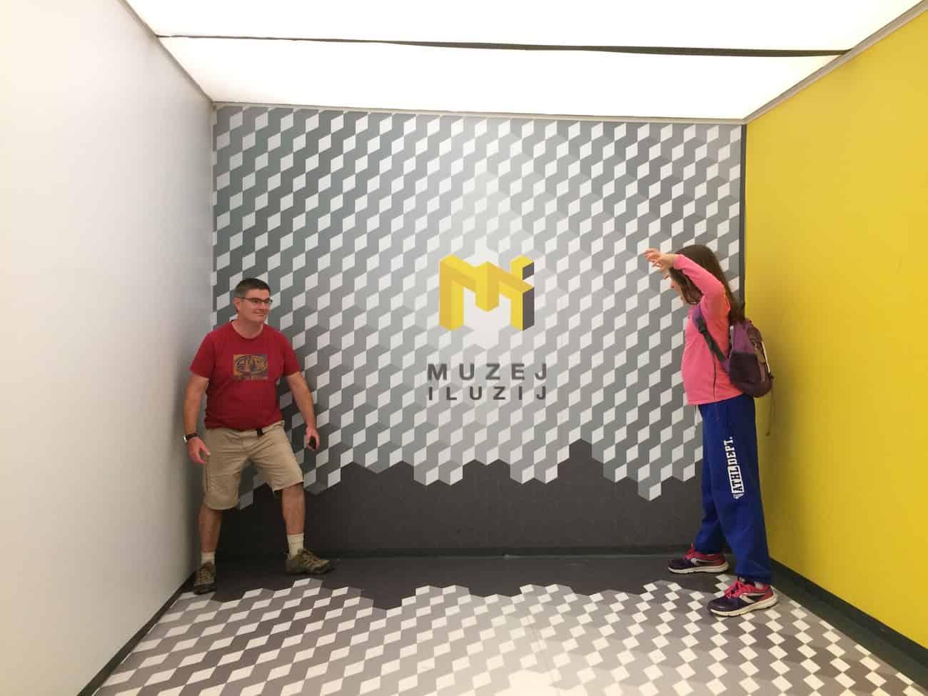 Slovenia Ljubljana Museum of Illusions Ames Room 2