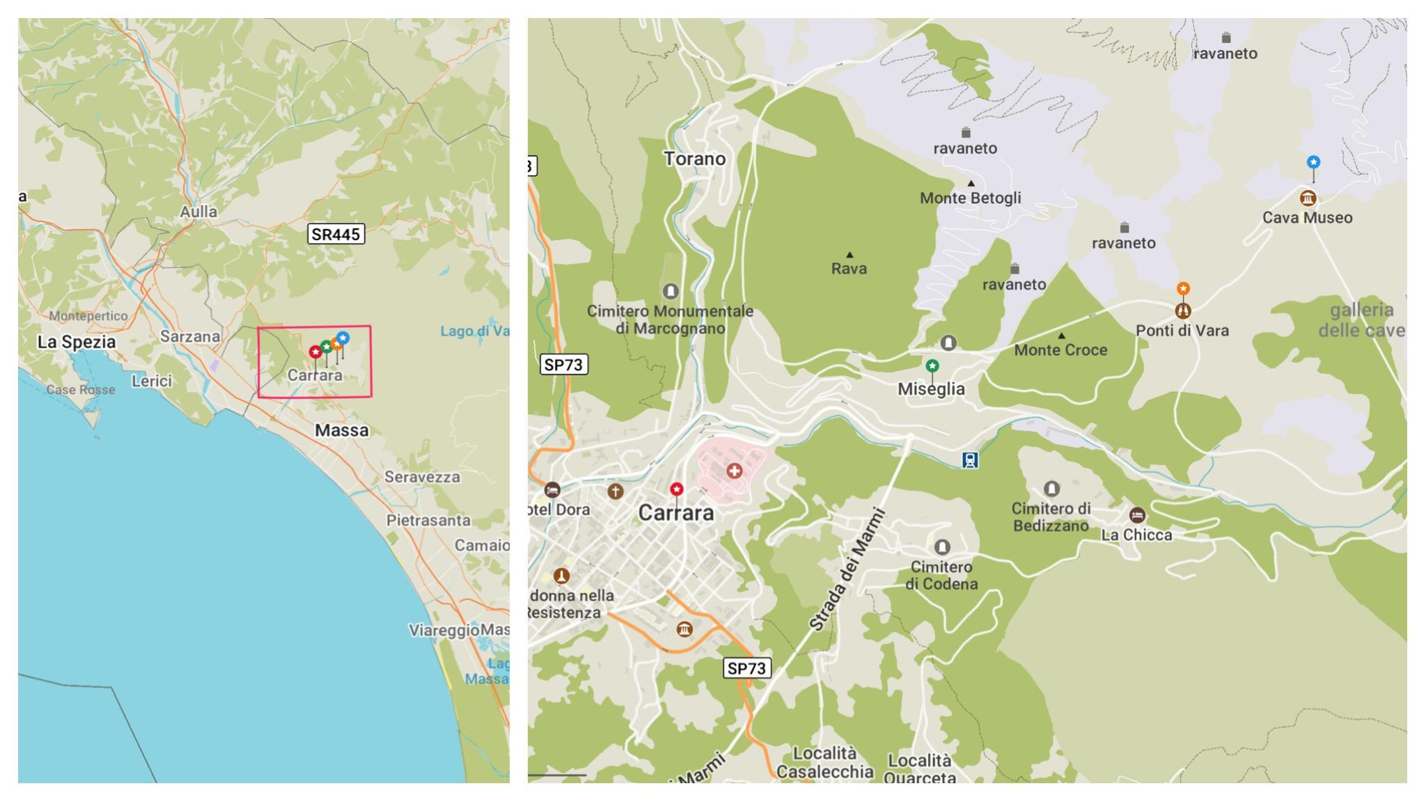 Carrara Marble Quarries Fantiscritti location
