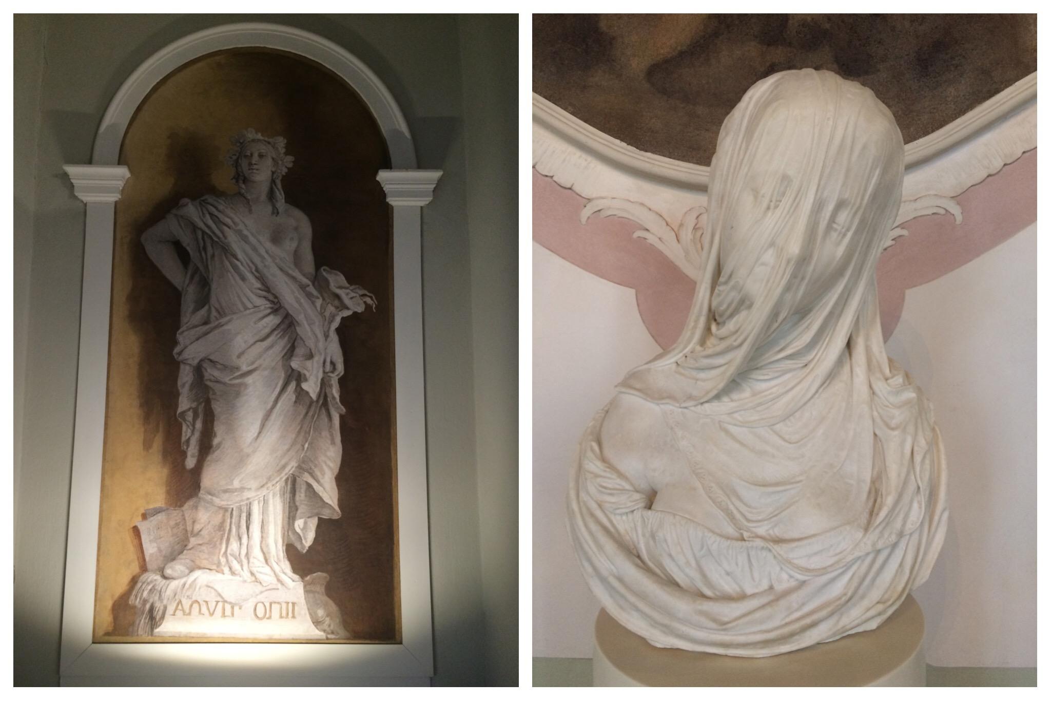 Venice Ca' Rezzonico Trompe L'oeil and Corradini sculpture