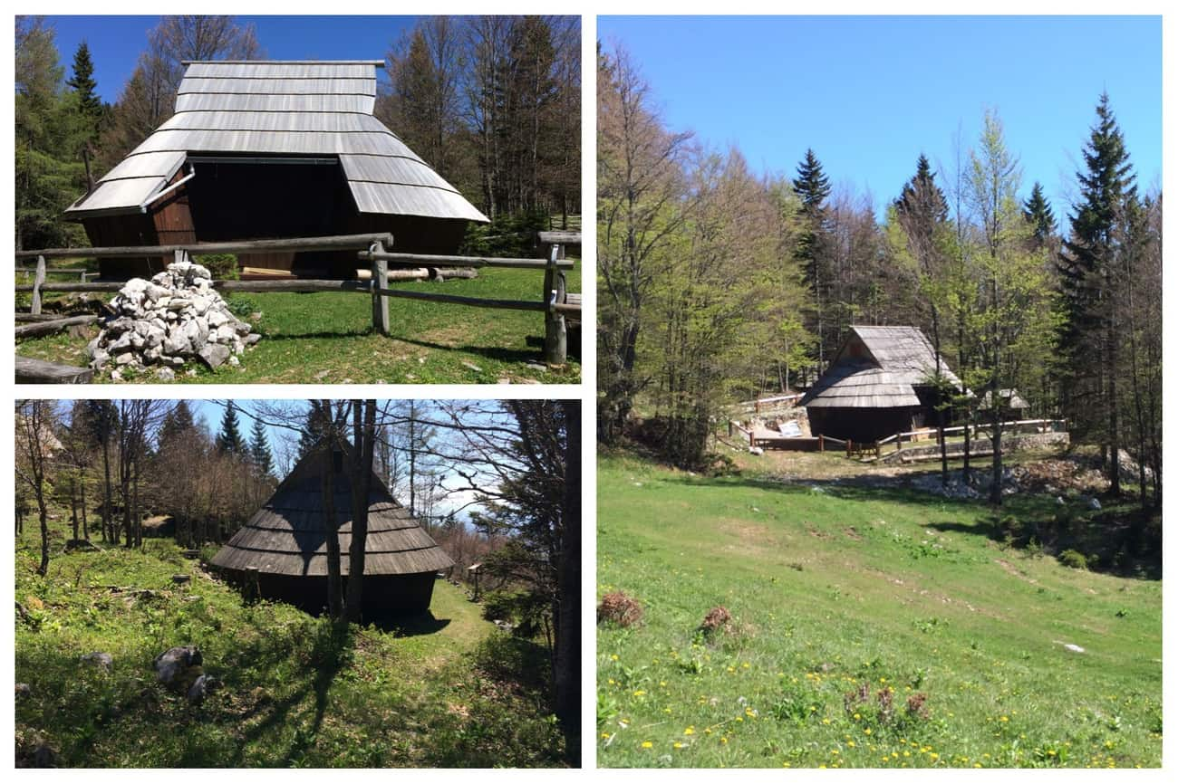 Slovenia Velika Planina close-up of sherpherds' huts