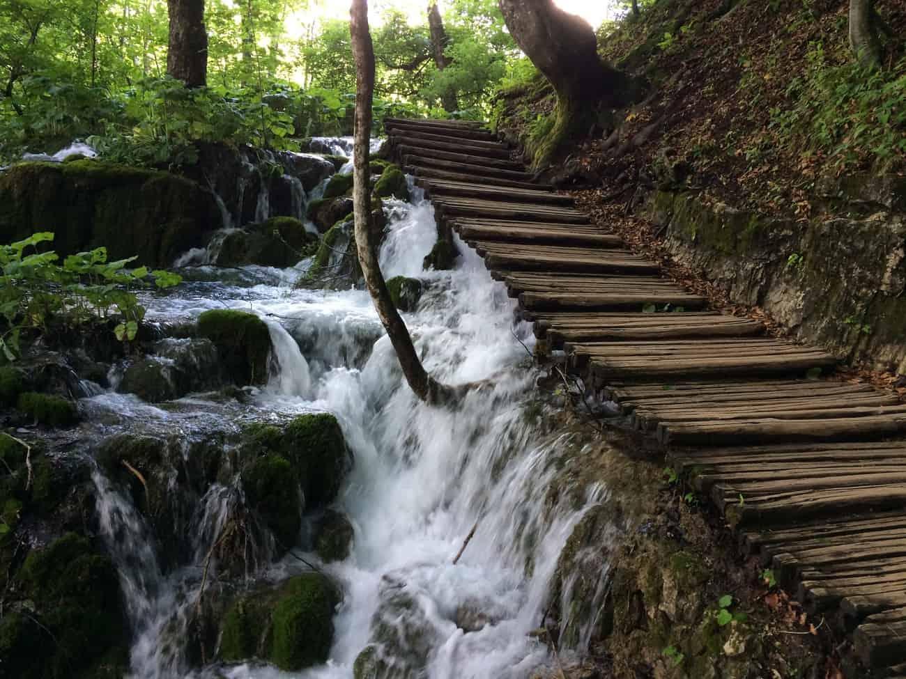 Croatia Plitvice Lakes water gushing under boardwalk