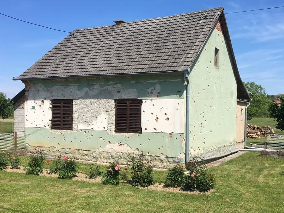 Croatia Karlovac Turanj house with bullet holes