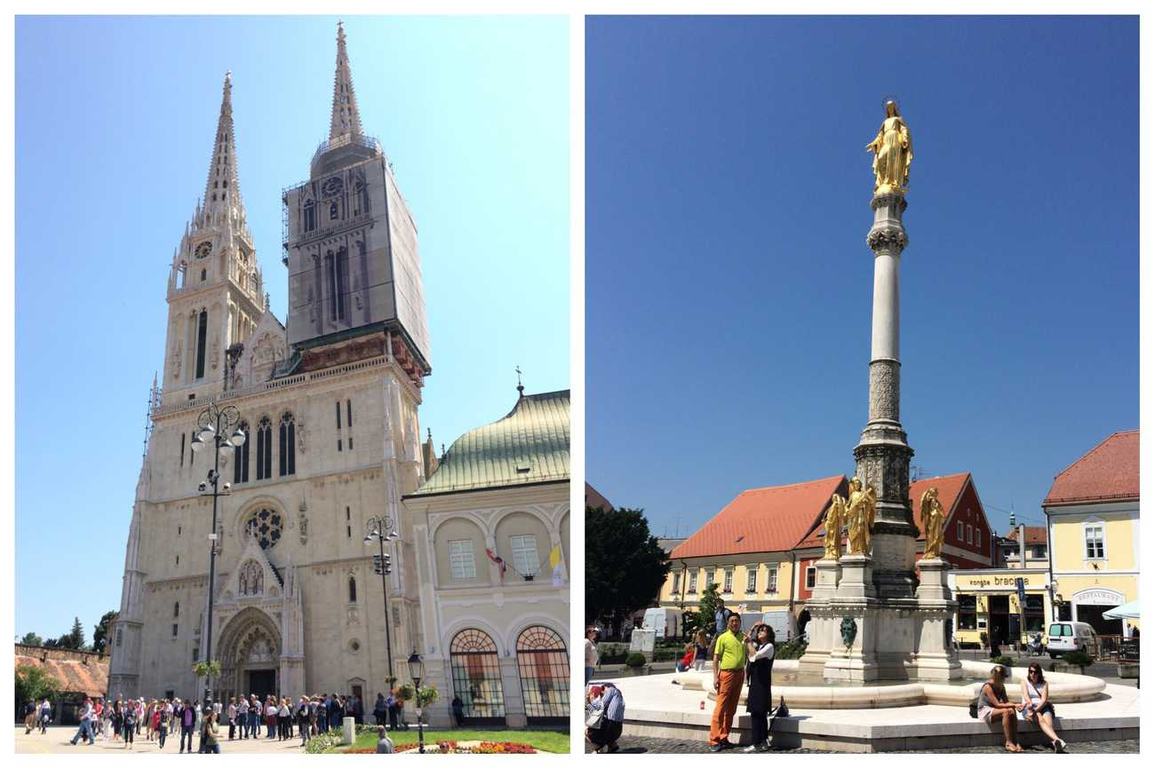 Zagreb Cathedral and Fountain of Virgin Mary
