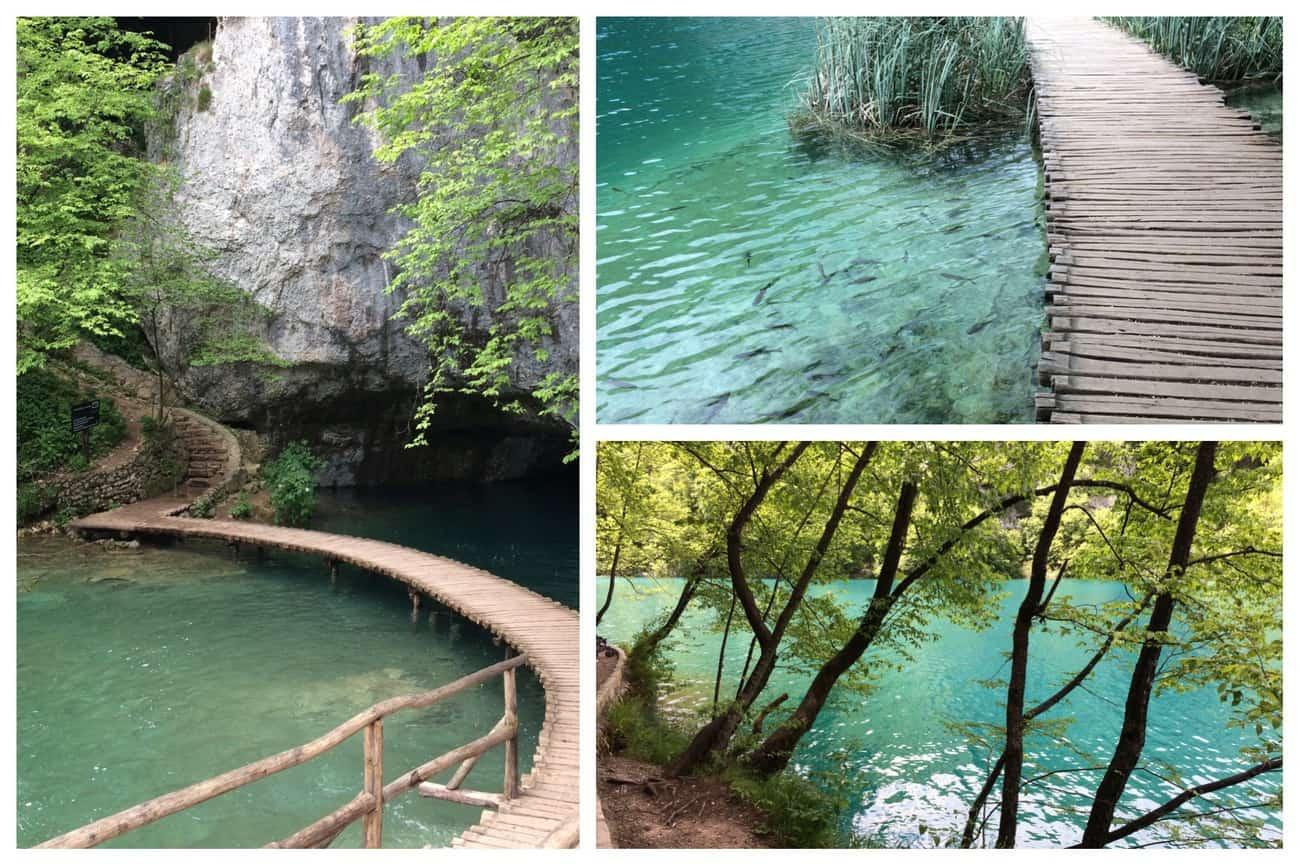 Croatia Plitviče Lakes boardwalks and turquoise water