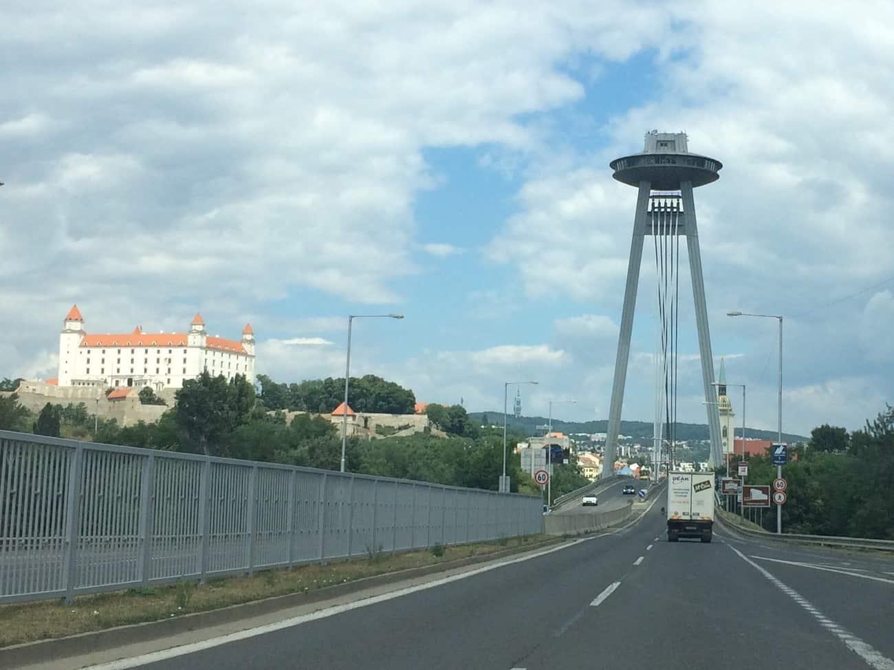 Slovakia Bratislava UFO Bridge and Castle