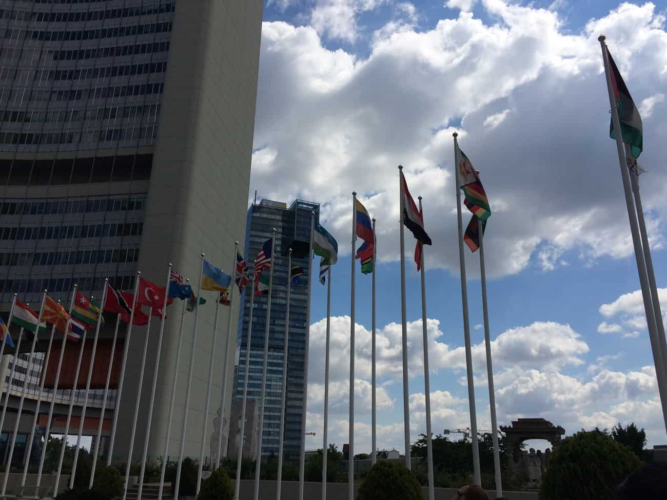 United Nations Vienna Tour Flags in Central Plaza