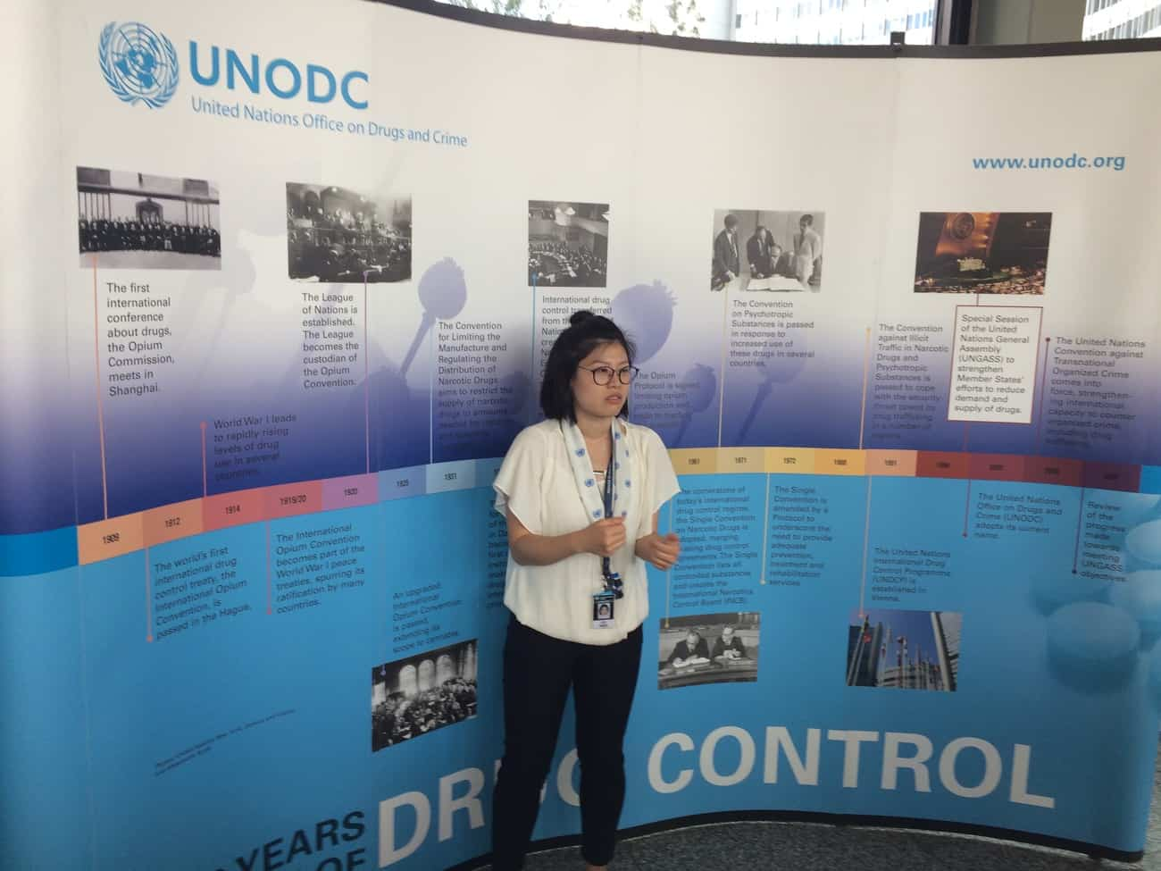 United Nations Vienna Tour UNODC display