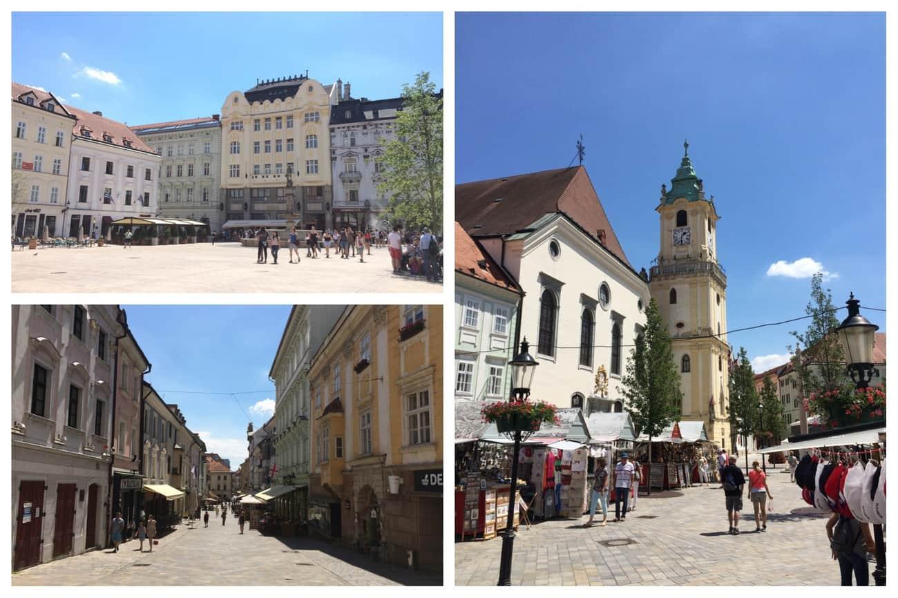 Slovakia Bratislava Old Town pastel buildings