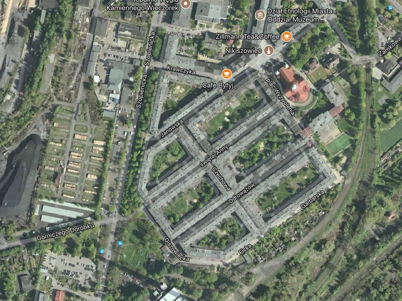 Poland Katowice Nikiszowiec aerial view