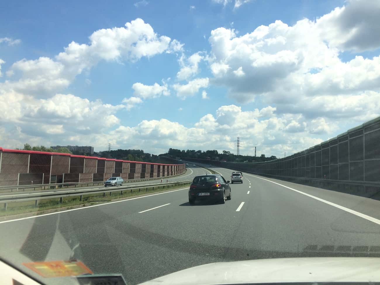 Poland Motorway enclosed with barriers