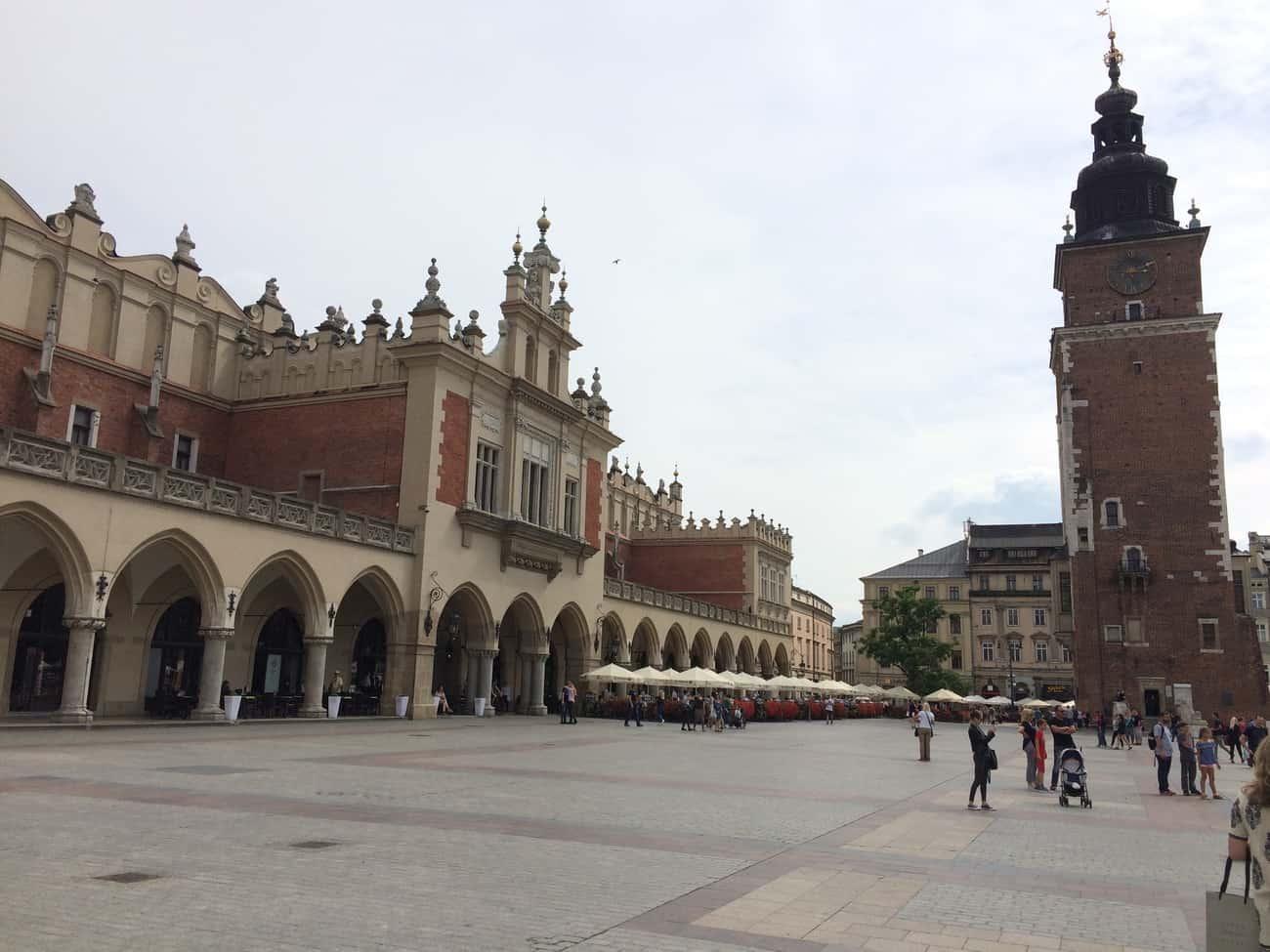 Poland Krakow Cloth Market and Town Hall Tower