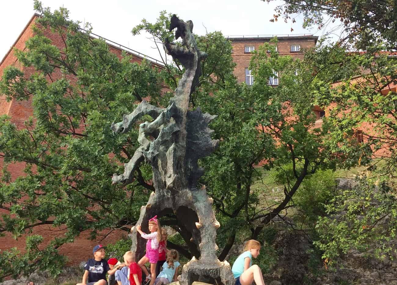 Poland Krakow Wawel Dragon statue