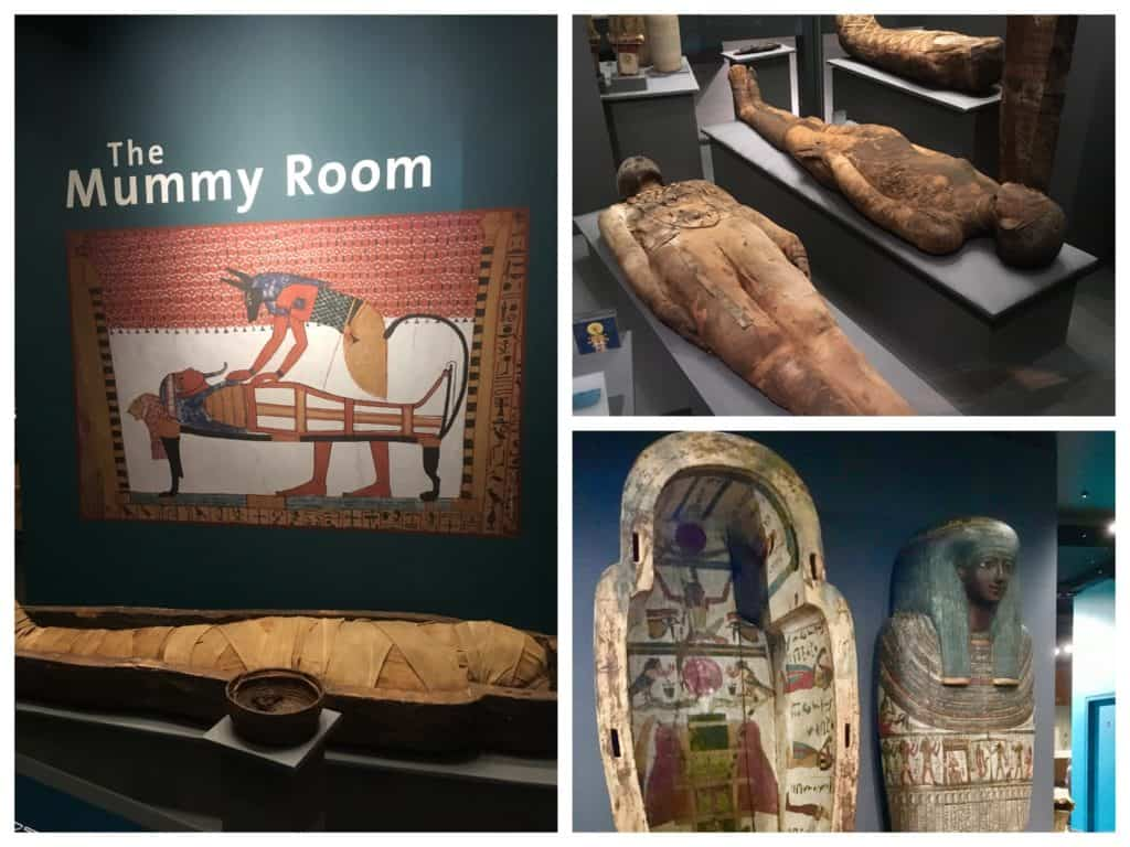 Egyptian mummies and coffins in the Mummy Room at the World Museum