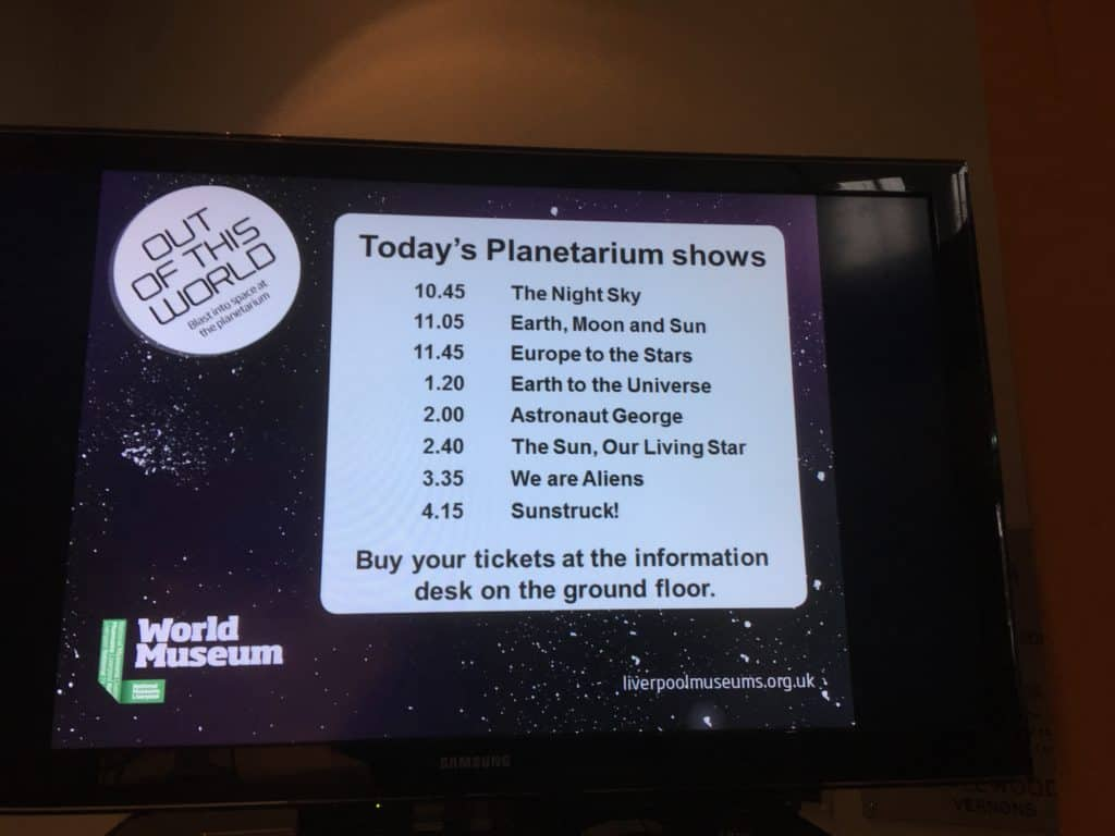Television screen showing the Planetarium shows at the World Museum Liverpool