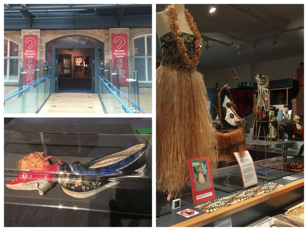 Collage showing entrance of Weston Discovery Centre, tiny Chinese embroidered shoes and traditional grass skirts