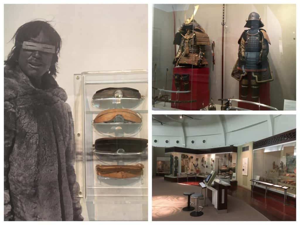 Displays of Arctic snow goggles and Samurai armour in the World Cultures Gallery at the World Museum, Liverpool