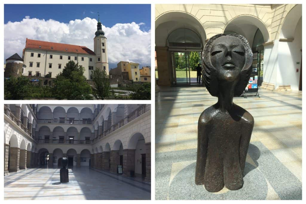 Collage of the old chateau in Hranice, including a sculpture of a woman's head with her face raised towards the sun