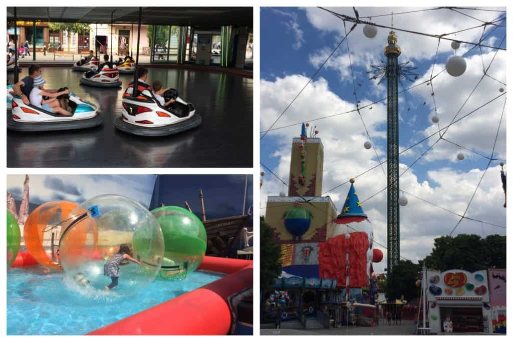 Collage showing various rides at Prater Park in Vienna - dodgems, sorbing and the Praterstern (the highest swing ride in the world)