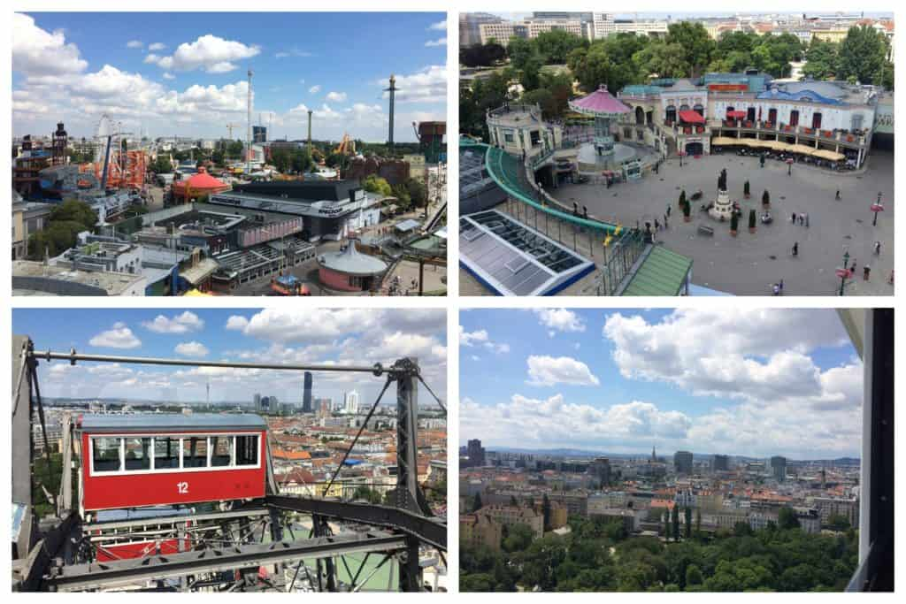 Views across Vienna's Prater Park from the giant Ferris wheel showing the amusement rides and the city in the distance.