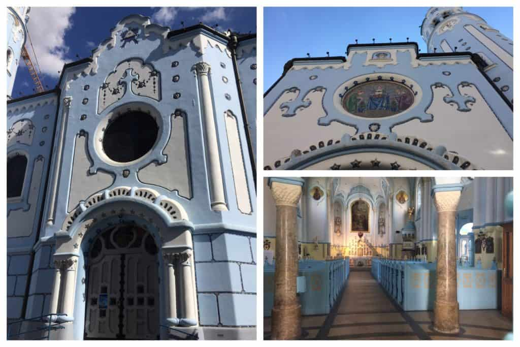Collage of images showing the pale blue and white exterior and interior of the Church of St Elizabeth in Bratislava, Slovakia